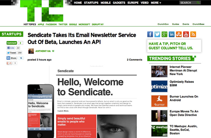 Techcrunch covers Sendicate's Launch